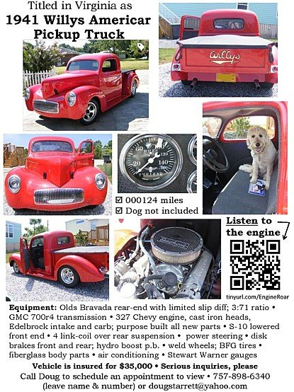 1941 Willys Pickup for sale 100926428